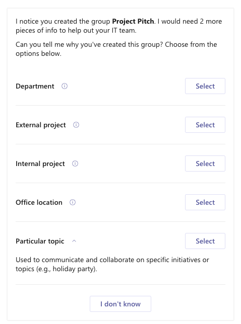 """Screenshot of group purpose options with descriptions for """"Particular topic"""" option expanded."""