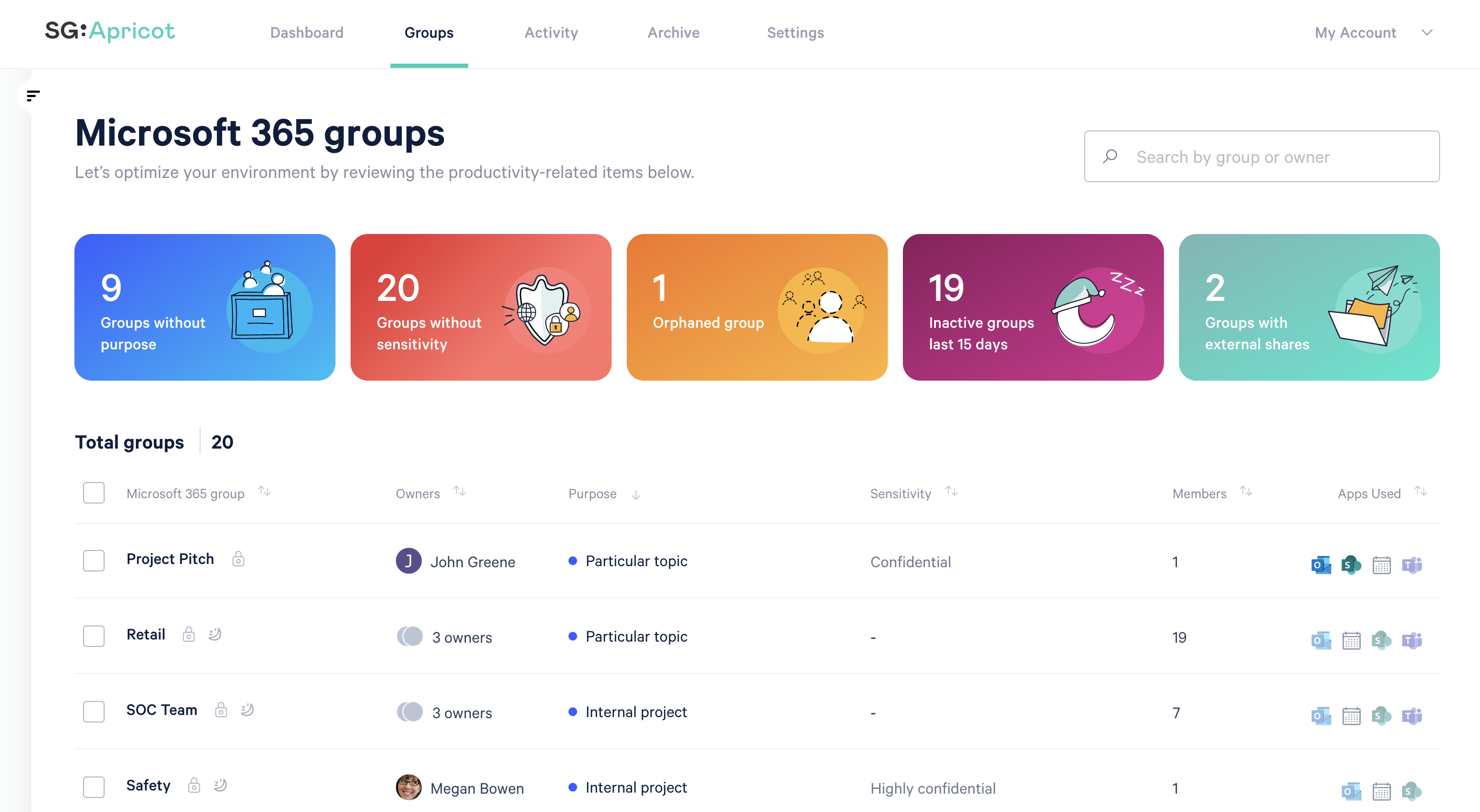 Screenshot of Groups page in ShareGate Apricot.