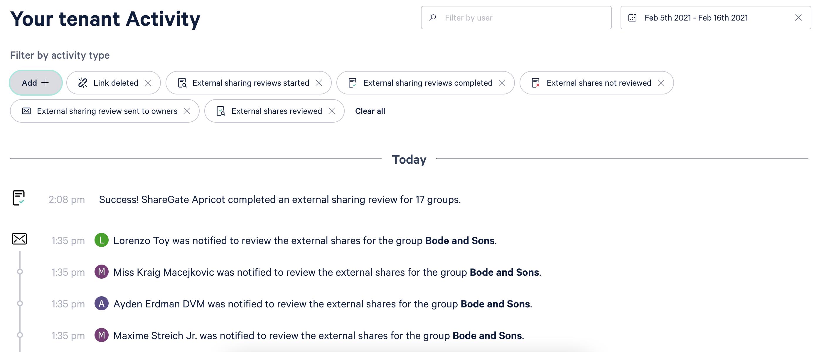 Screenshot of activity log in ShareGate Apricot.
