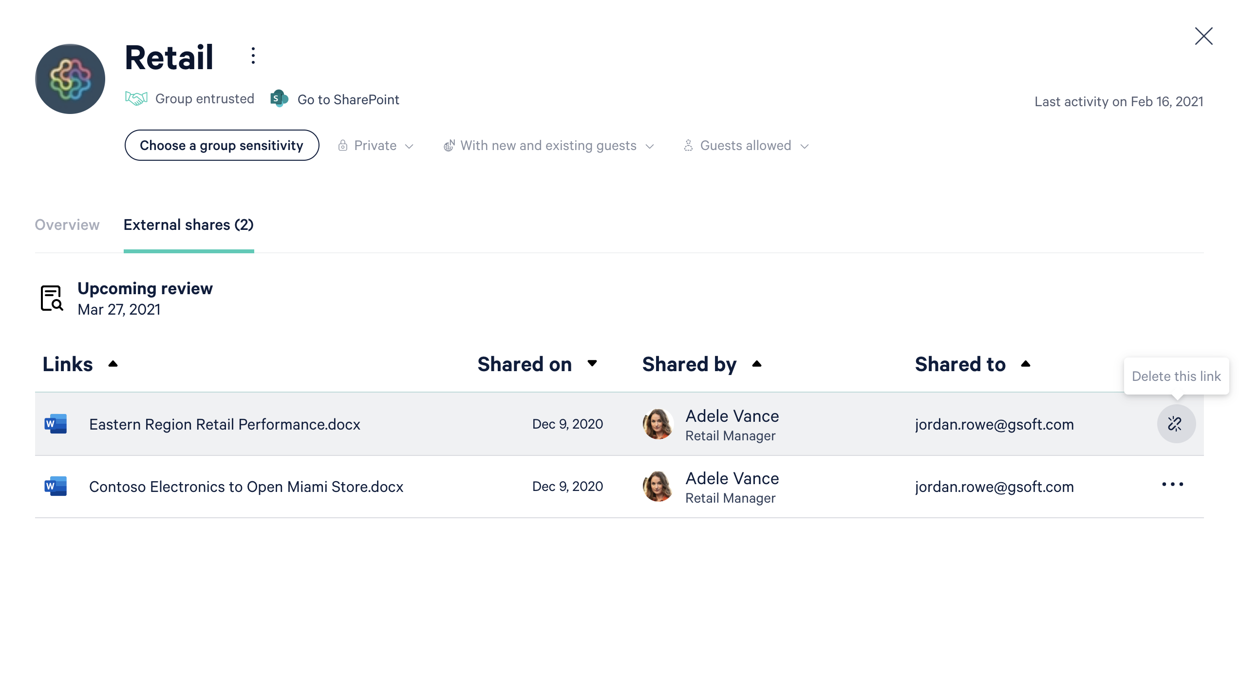 Screenhsot of external sharing link details for the Retail team.