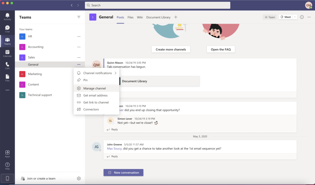 Screen shot of how to manage a channel in Microsoft Teams