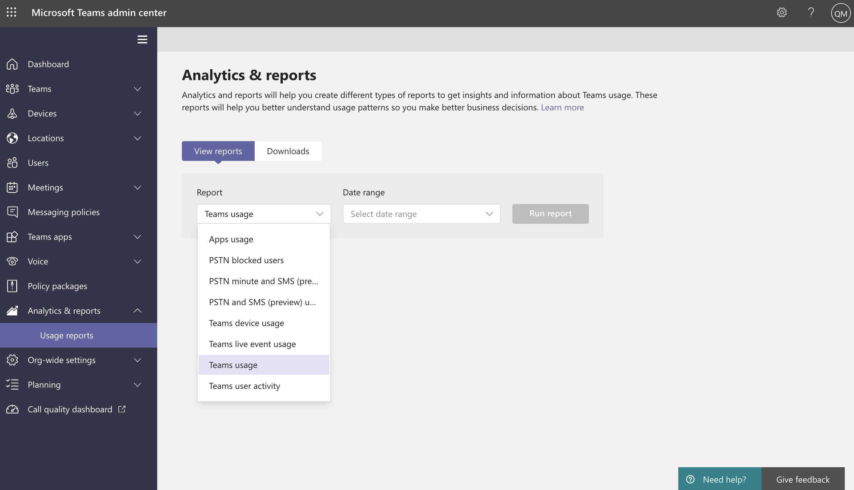 Screenshot of Usage reports in Teams admin center.