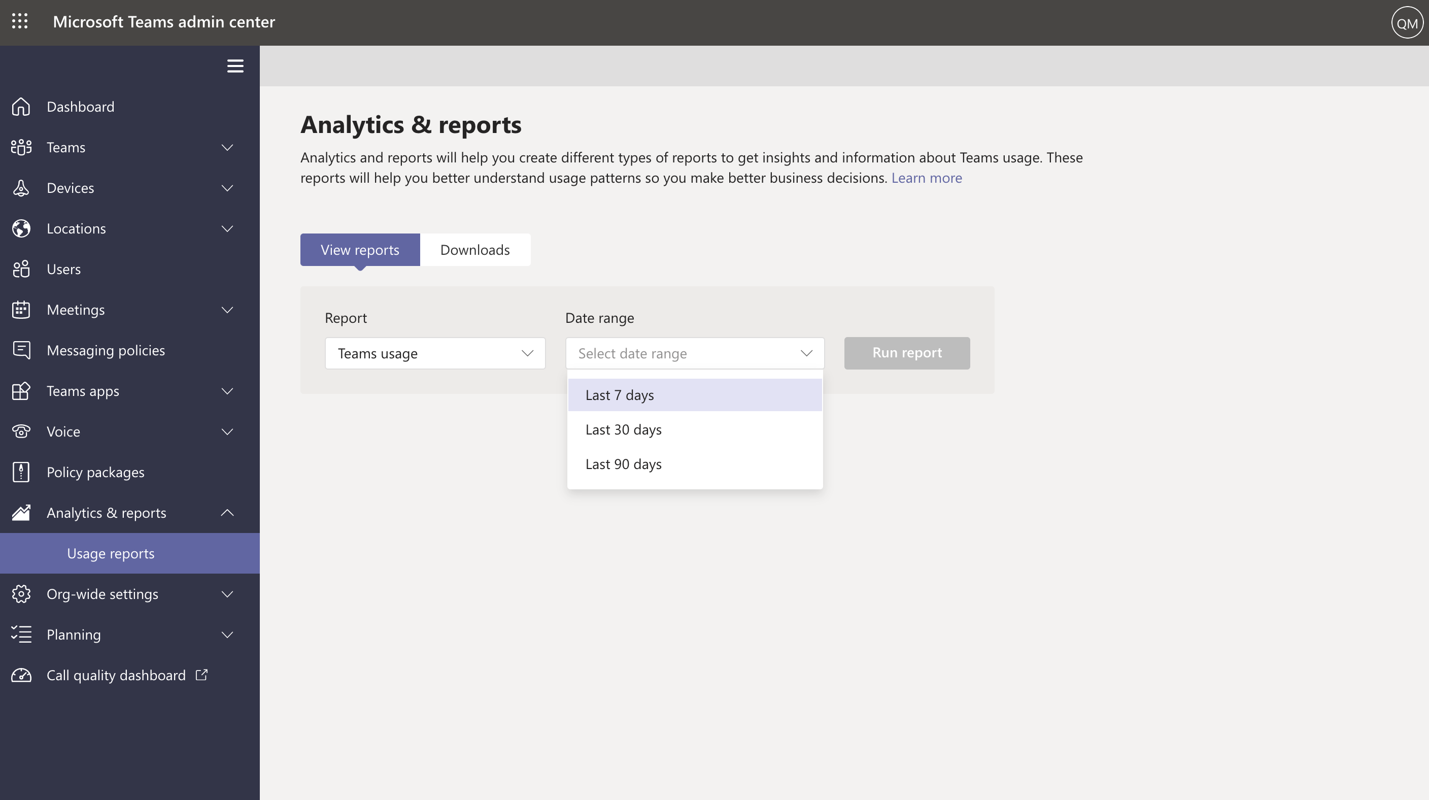 Screenshot showing available date ranges for Teams usage report.