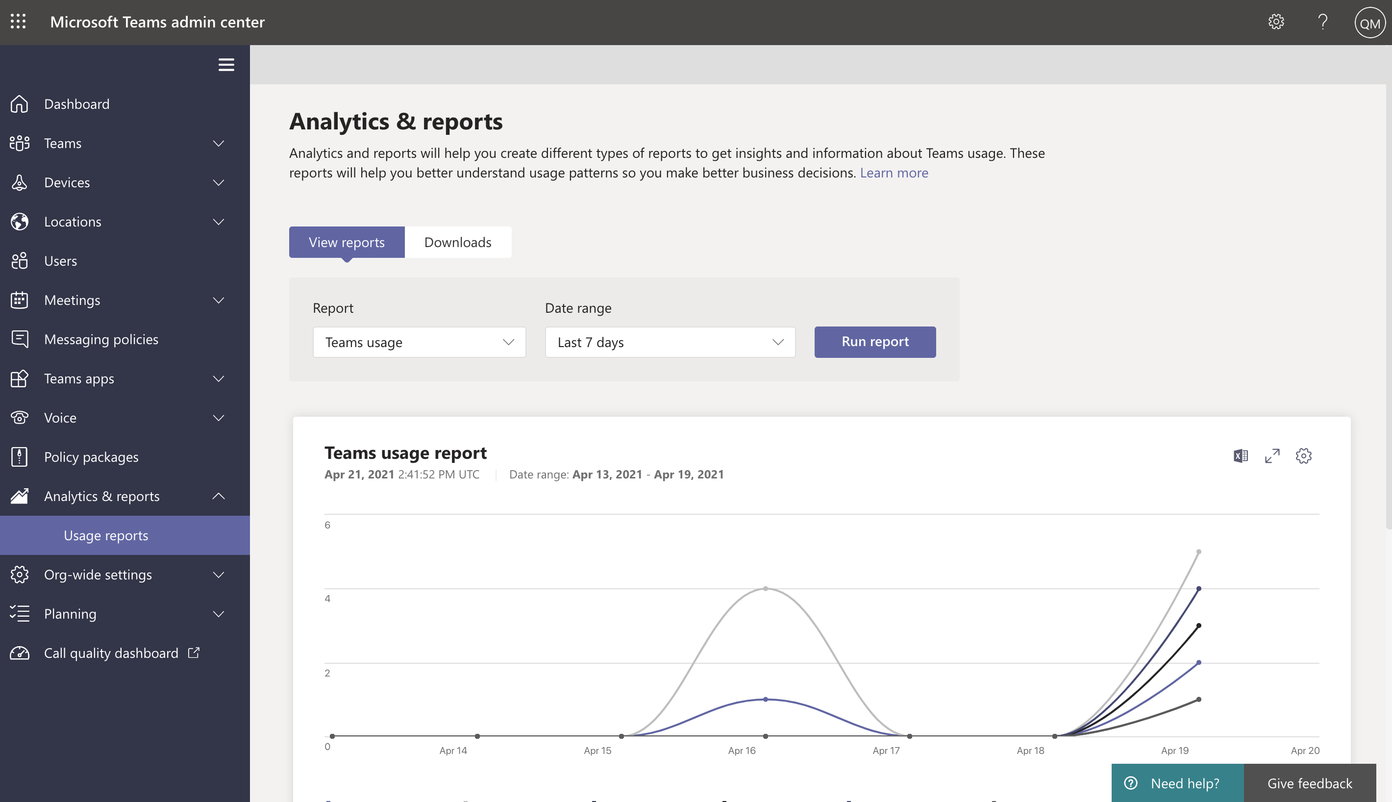 Screenshot of a 7 day Teams usage report in the Teams admin center.