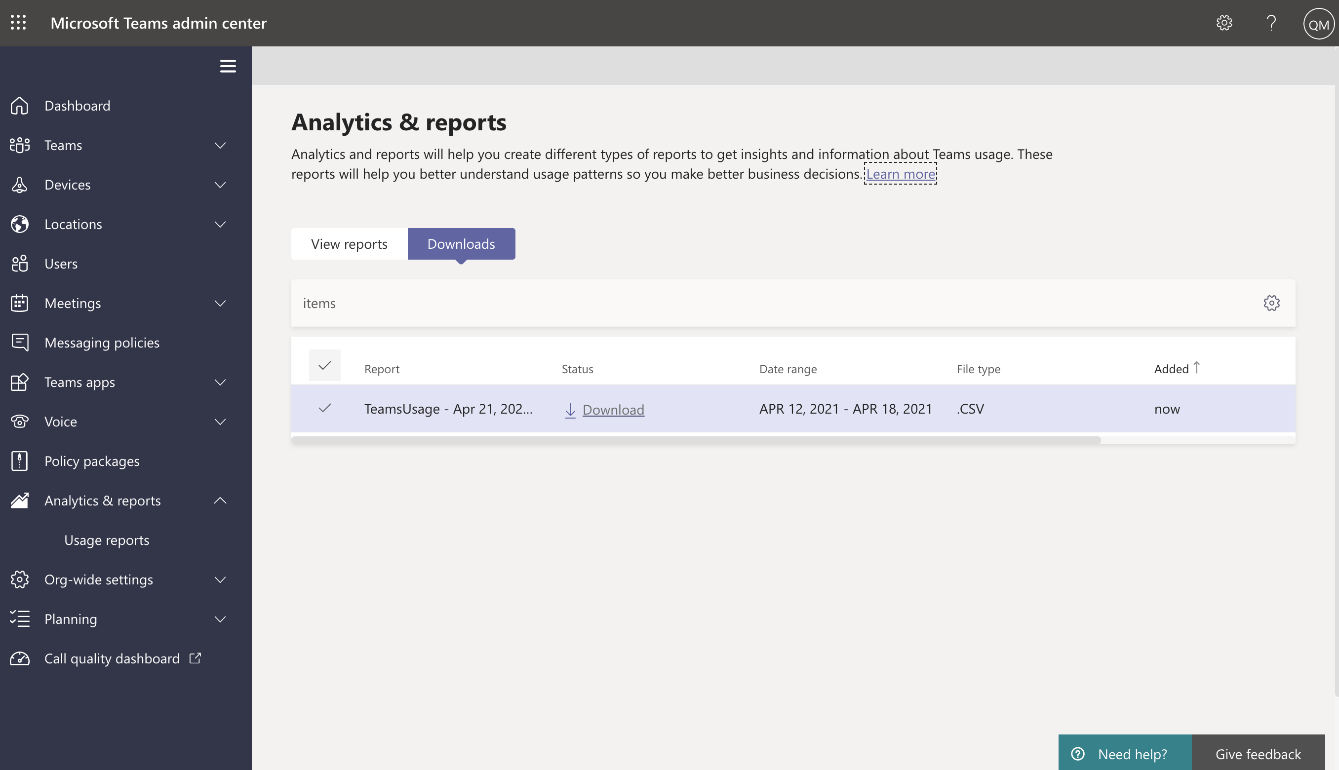 Screenshot of Downloads tab in the Analytics & reports section of the Teams admin center.