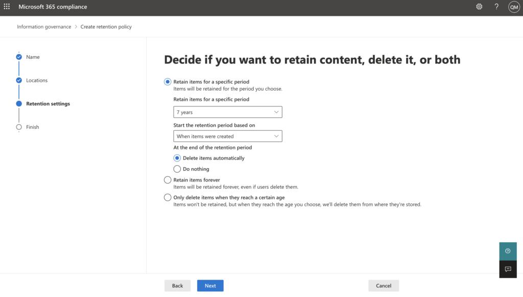 Screen Shot of Microsoft 365 compliance center