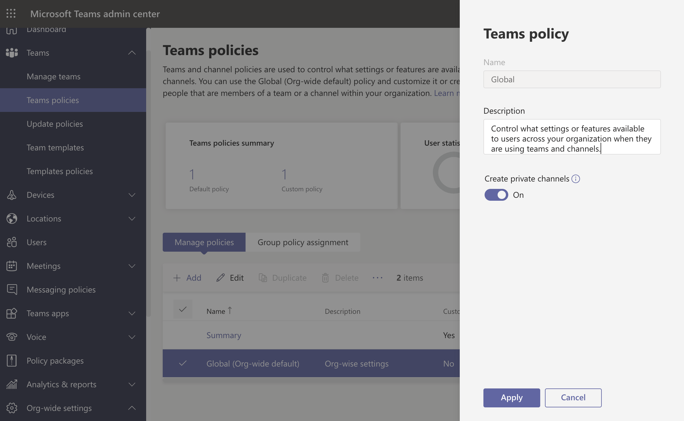 Screenshot of admin editing a Global Teams policy in the Teams admin center.