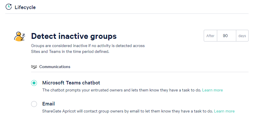 In ShareGate Apricot, you can select how you want to collaborate with owners, either via Microsoft Teams chatbot or by email.