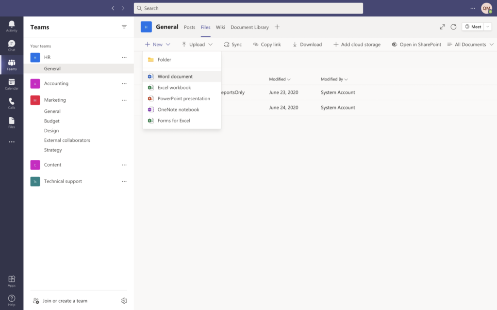 Create Office Online documents within the Microsoft Teams app
