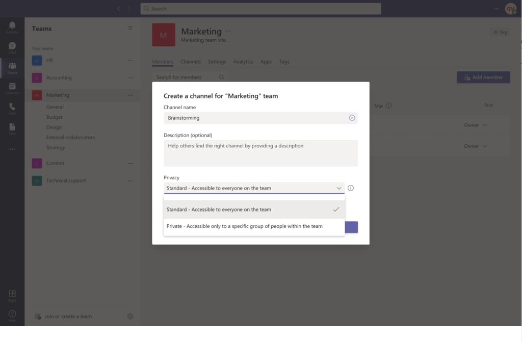 Create a public channel in Microsoft Teams
