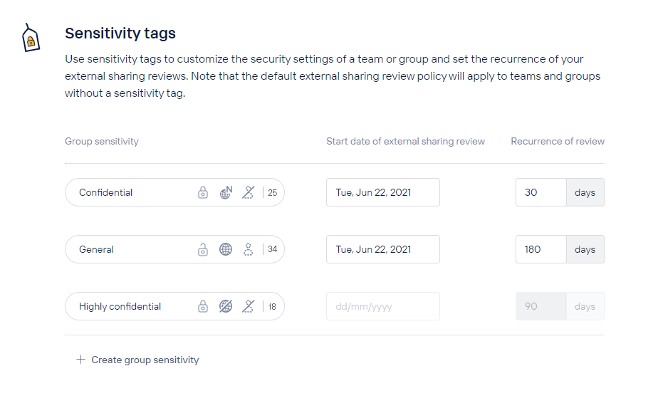 Customize external sharing review based on the level of sensitivity of a team or group.