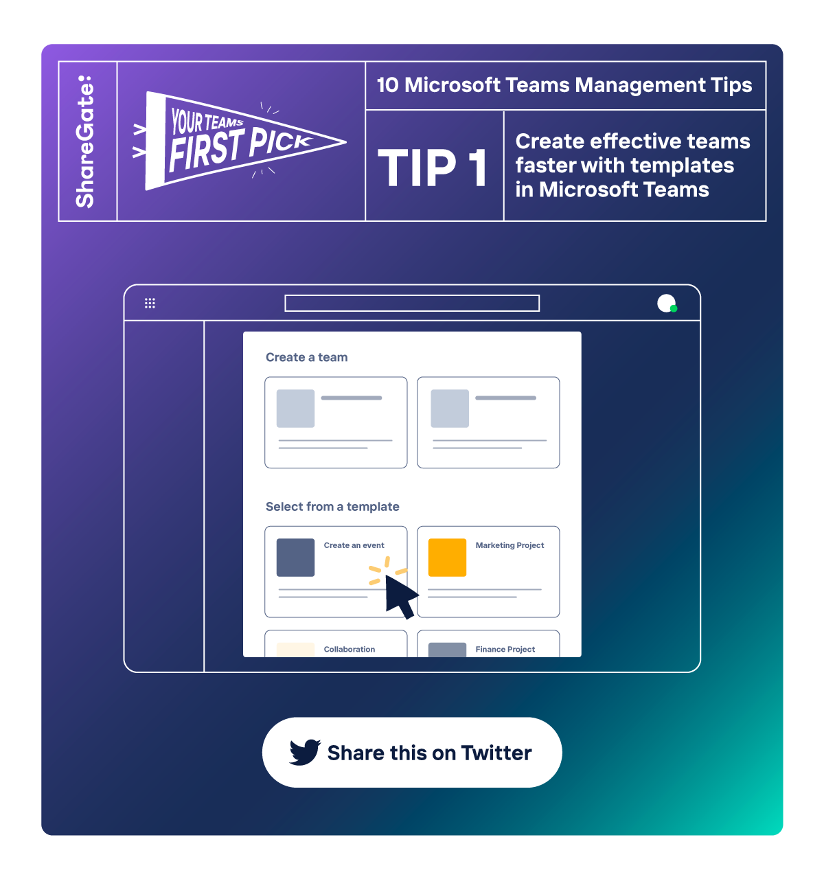 Illustrated infographic showing tip 1: Create effective teams faster with templates.