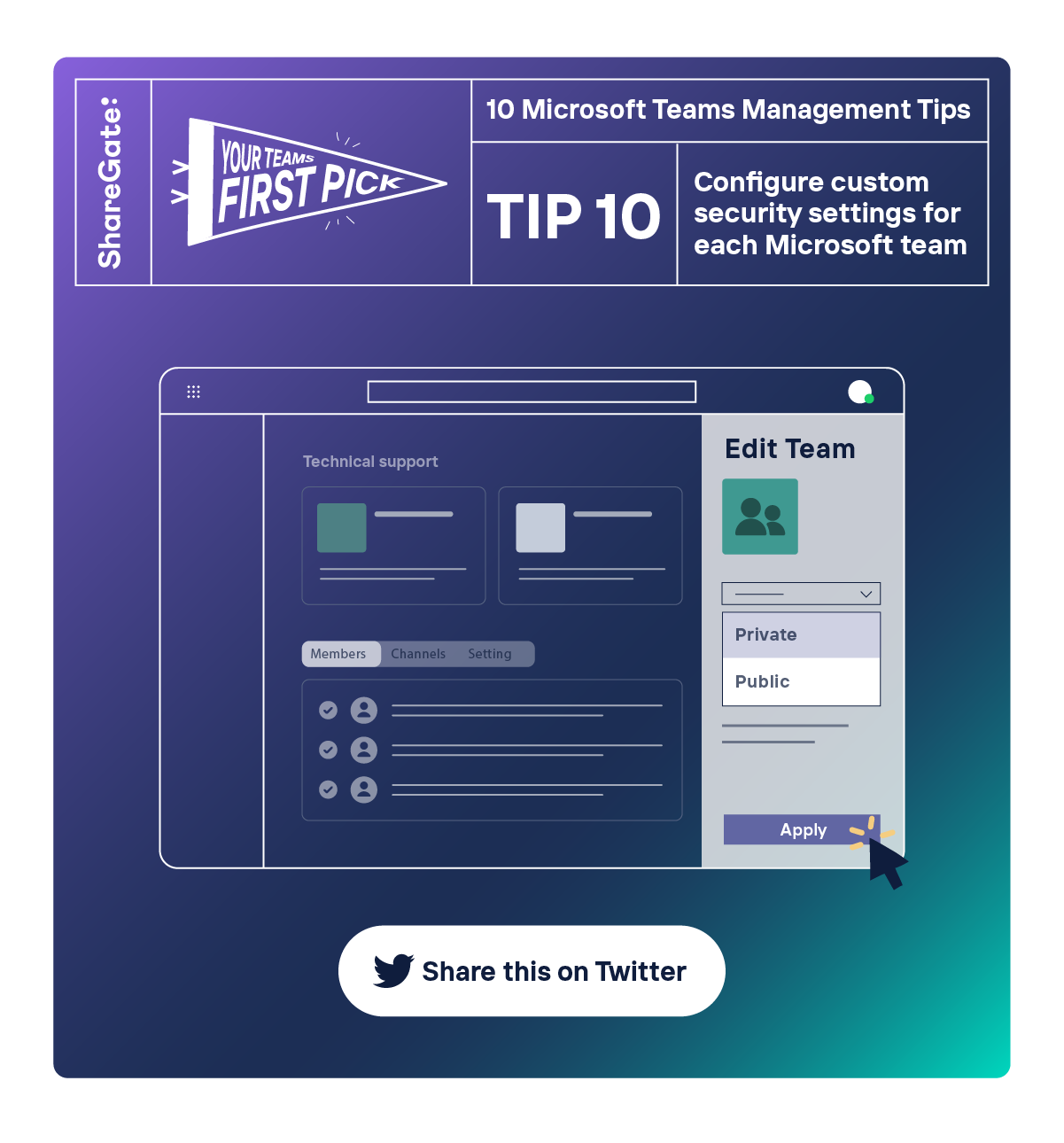 Illustrated infographic showing tip #10: Configure custom security settings for each Microsoft team.
