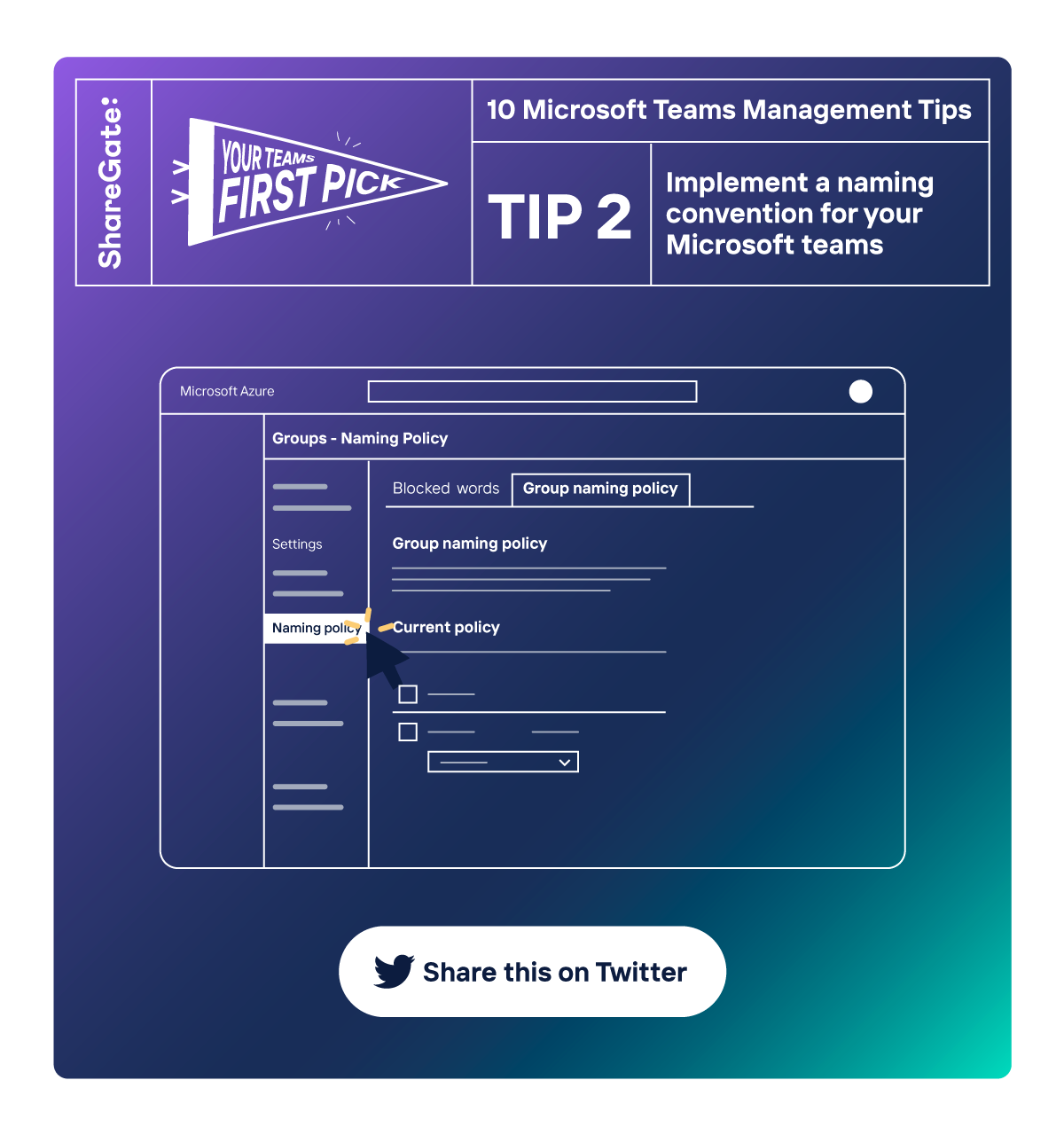 Illustrated infographic showing tip #2: Implement a naming convention for your Microsoft teams.
