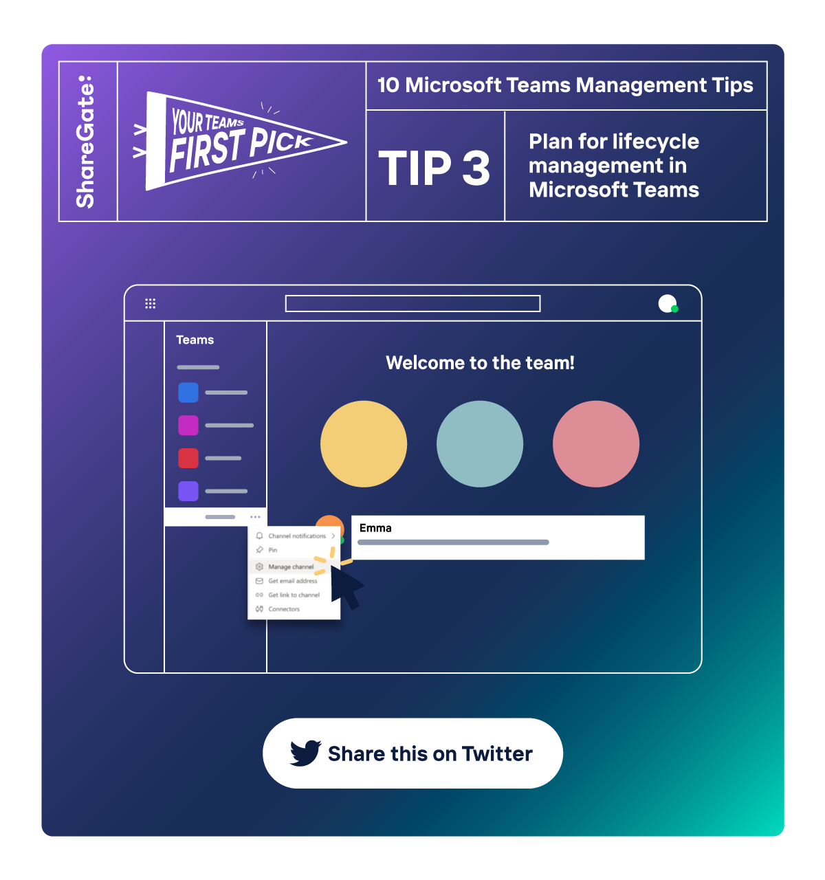 Illustrated infographic showing tip #3: Plan for lifecycle management in Microsoft Teams.