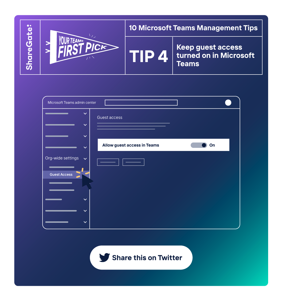 Illustrated infographic showing tip #4: Keep guest access turned on in Microsoft Teams