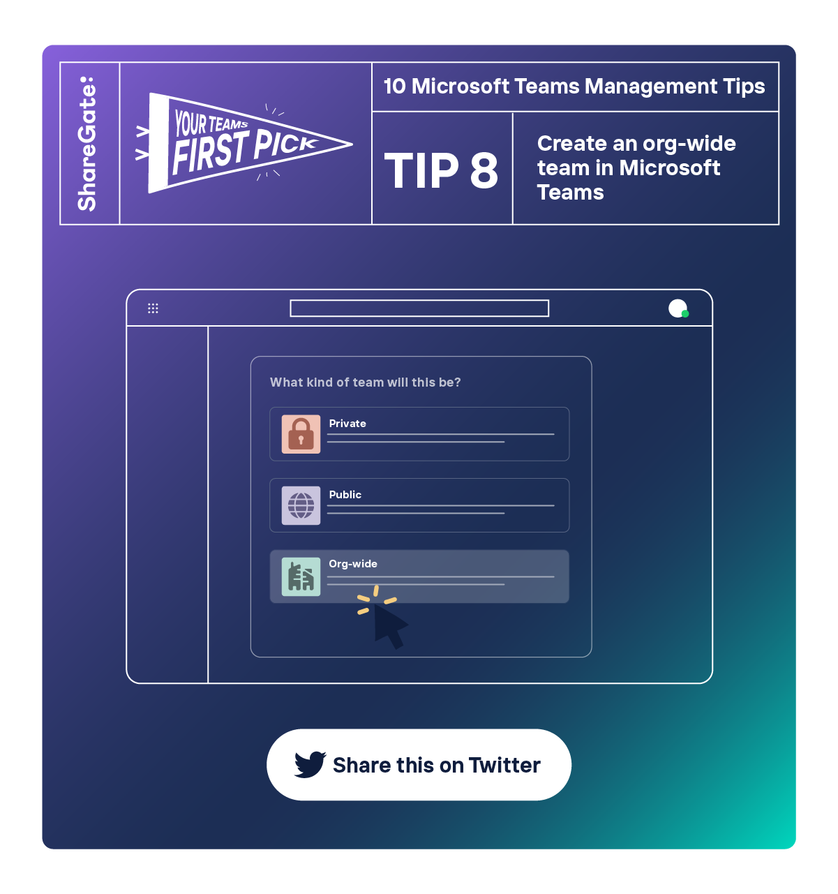 Illustrated infographic showing tip #8: Create an org-wide team in Microsoft Teams.