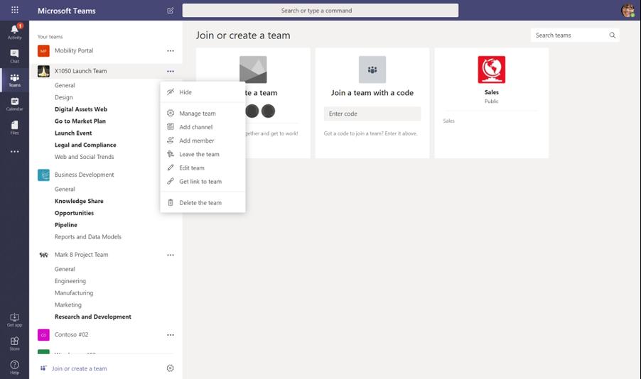 Hide channels in Microsoft Teams sidebar