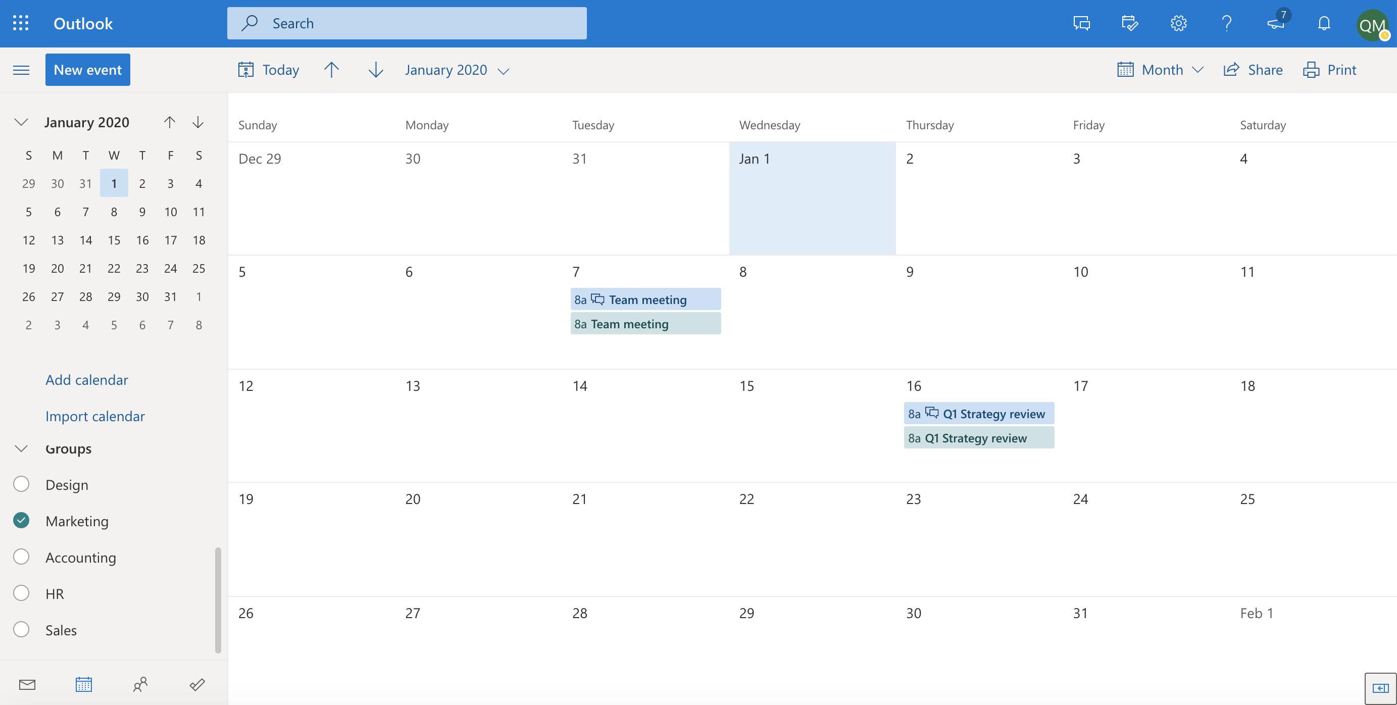 Outlook group calendar