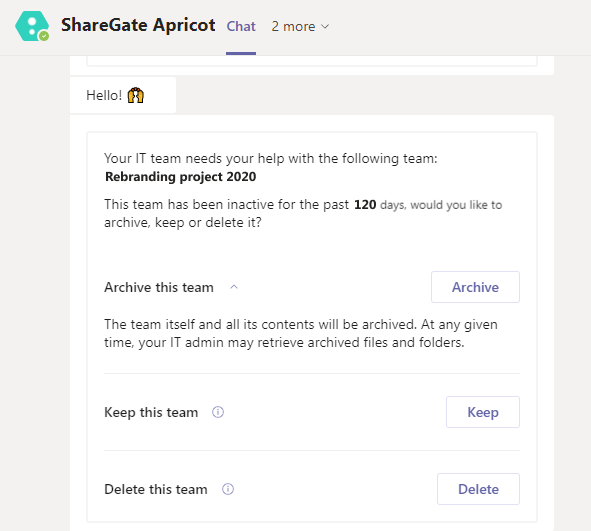 ShareGate Apricot Microsoft Teams chatbot notification asking owner to archive, keep, or delete team.